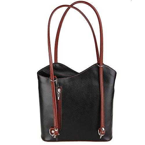 Chicca Borse Shoulder Bag Borsa da Donna a Spalla in Vera Pelle Made in Italy 28x30x9 Cm Nero - Marrone