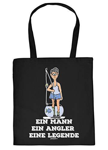 Tasche mit Motiv fr Angler: EIN Mann, EIN Angler, eine Legende - Geschenkidee fr alle Hobbyangler - Fischen - schwarz
