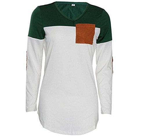 d04603bca9138c ... SHUNLIU Damen Tshirt Rundhals Land Ärmel Loose Patch Bluse T-Shirt  Oberteile Tops Langarmshirts Grün