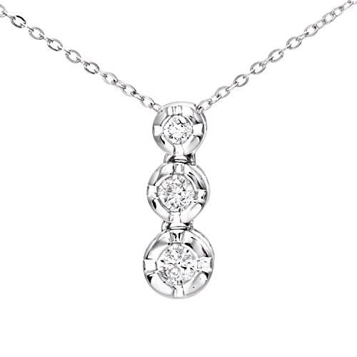 Naava Women's 0.15 ct Graduated Diamond Trilogy Pendant and 9 ct White Gold Chain Necklace of 46 cm