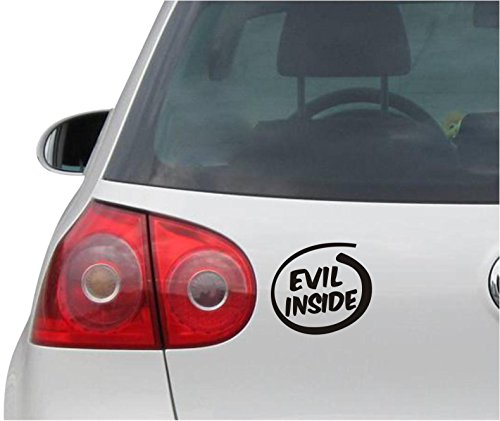 Aufkleber / Autoaufkleber - JDM - Die cut - Evil Inside On Board Decal Funny Satan Auto Sticker - schwarz - 99mmx88mm