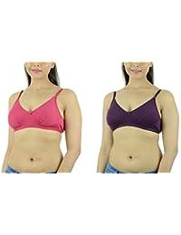 Ishita Fashions Women's Cotton Bra (Pink, Wine) - 2 PCs Combo