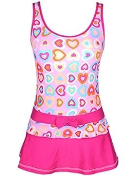 Perfashion Mädchen Badeanzug Einteiler Bowknot Drucken Kleid Badeanzug
