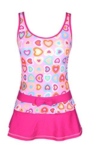 Perfashion Mädchen Einteiler Bowknot Drucken Kleid Badeanzug Rosa 164 (Bowknot Drucken)