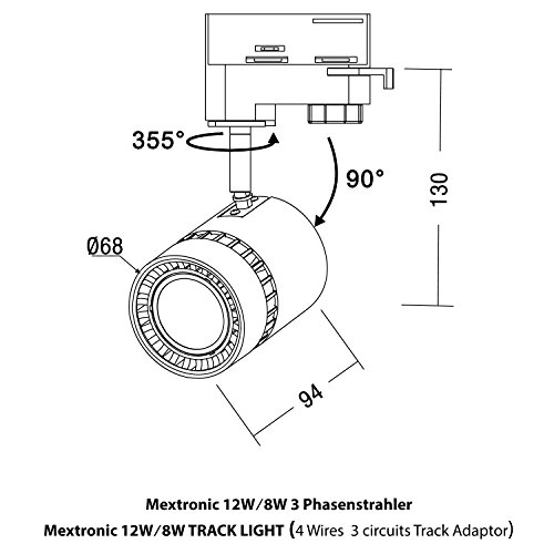Mextronic 8W Tageslicht weiss led 3 phasen strahler für Schienensystem Schienen Strahler Schienen Leuchte - 4