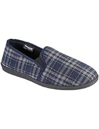 Lora Dora Mens Slippers Black Velour Velvet Soft Heel Wide Fit Sizes 8-14 (8 UK, Navy (Tim))