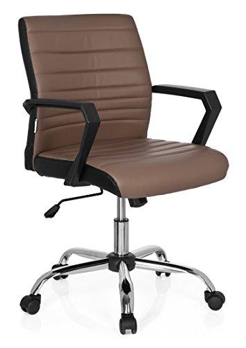 hjh OFFICE 723052 Bürostuhl ERGOSMOOTH Kunstleder Braun Home-Office Schreibtischstuhl mit Armlehnen