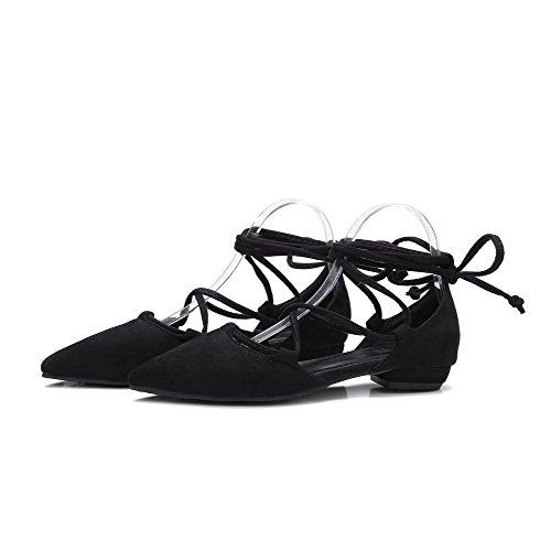 VogueZone009 Donna Plastica Allacciare Scarpe A Punta Tacco Basso Puro Ballet-Flats Nero