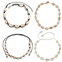 Mingjun 4 Pcs Natural Shell Choker Necklace Handmade Beach Jewelry Clavicle Chain Necklace for Women Girls