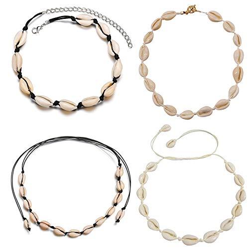 Mingjun 4 Stück natürliche Muschel-Choker-Halskette, Handarbeit, Strand-Schmuck, für Damen/Mädchen
