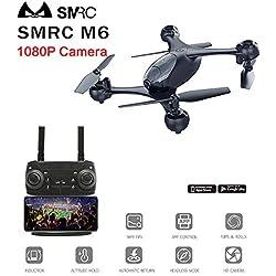 DishyKooker SMRC M6 Follow Me Quadrocopter Pocket Drohnen mit Kamera HD 4K / 1080P RC Flugzeug Quadcopter Race Hubschrauber FPV Racing Dron Toys Schwarz 1080P