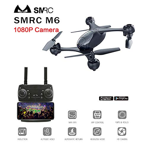 DishyKooker SMRC M6 Follow Me Quadrocopter Pocket Drohnen mit Kamera HD 4K / 1080P RC Flugzeug Quadcopter Race Hubschrauber FPV Racing Dron Toys Black 1080P RC Drohne Quadcopter Remote Control Drone