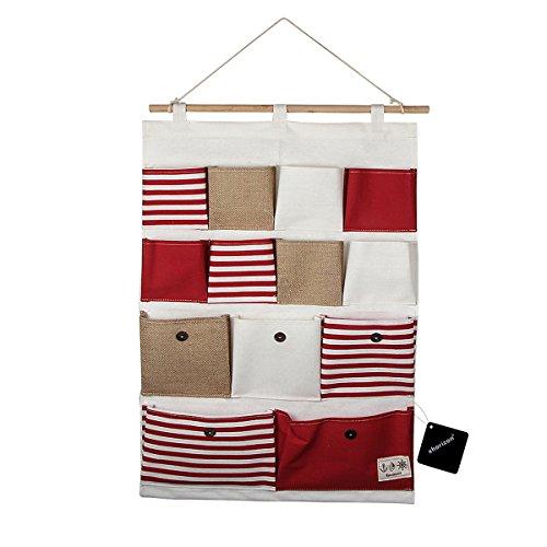 xhorizon TM Aufbewahrungstasche/Organizer aus Leinen/Baumwolle mit 13 Beuteln zum Aufhängen an der Wand, Tür oder auf dem Schrank Rote