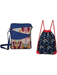 Rub & Style Hand Crafted Canvas Women Sling Bag & Drawstring Backpack Combo - B0757JN458