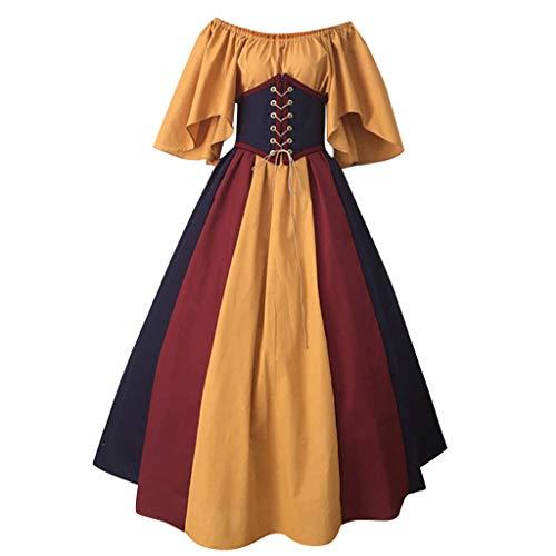 Vintage Übergröße Kostüm Hexe - Aoogo Damen Fliegende Ärmel mit Kontrastnähten und Taille Kleid Vampir Hexe Kleider Cosplay Hexenkostüm Kostüm,Mode Neue Frauen mittelalterlichen Vintage Gothic