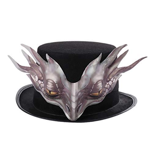 Drachen Kostüm Hüte - Amosfun Karneval Party Hut Vintage Retro Punk Gothic Hut vlies Hut Halloween Drachen Cosplay kostüm zubehör für Halloween Party Dekoration (braun)