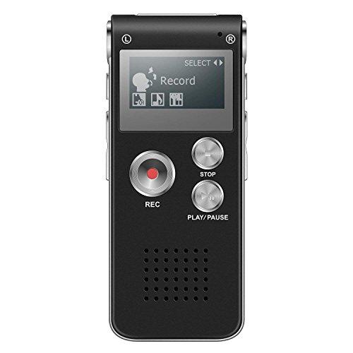 Digitales Diktiergerät HD Audiorekorder Diktierapparat Tonaufnahmegerät MP3-Player Wiederholfunktion Direktaufnahme One-Touch-Aufnahme Aufnahmegerät für Vorlesungen Meetings Interviews Unterricht(8GB)
