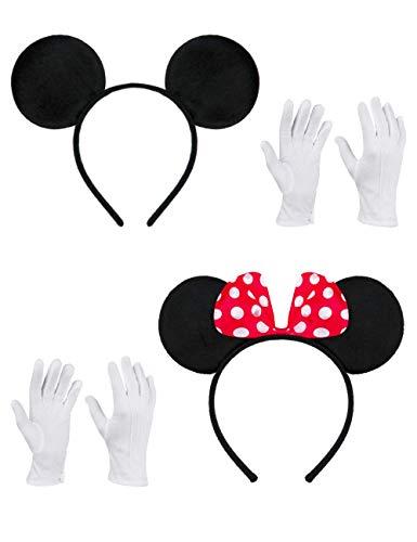 (Balinco Doppelpack mit Maus Haarreifen / Maus Ohren mit roter Schleife und weißen Punkten & Maus Ohren in schwarz inklusive 2 Paar weiße Handschuhe für Kinder & Erwachsene)