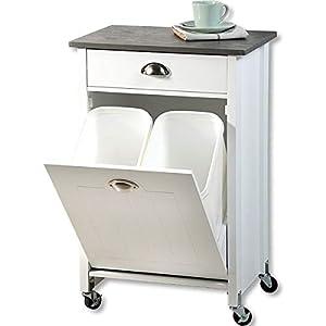 KESPER 2552713 Küchenwagen mit Mülltrennsystem, weiß lackiert, Abdeckplatte mit grauer Dekorfolie