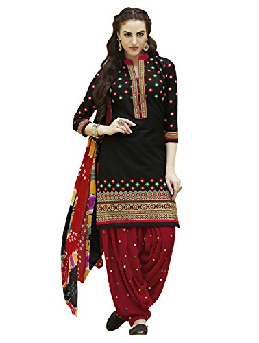 Kvsfab Women\'s Cotton Patiala Salwar suit (unstitched dressmaterial,Black & Red)