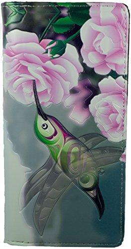 Shagwear Junge-Damen Geldbörse, Large Purse: Verschiedene Farben und Designs: (Geldbörse Kolibri mit Rose/Hummingbird With Rose) (Bestickte Geldbörse)