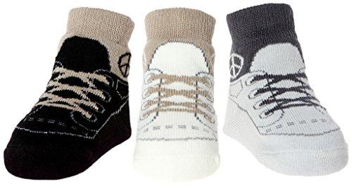 Baby Emporio - Baby Anti-Rutsch-Socken im Schuh-Design für Jungen - weiche Baumwolle - mit Geschenkbeutel - 3 Paar - 0-9Monate - Peace (Schuh-design-socken)