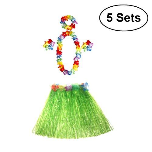 TOYMYTOY 5 Sätze Tropical Hula Gras Rock Hawaiian Kostüm-Set Kinder Blume Leis Armbänder Stirnband Halskette Set ()
