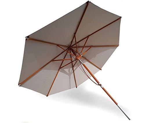 osoltus Jakarta Holzstockschirm Sonnenschirm deluxe 3,5m rund farbig (hell grau) (Helle Farbige Möbel)