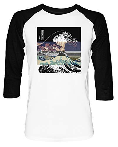 Das Großartig Welle Hokusai Schwelle Umkehren Herren Damen Unisex Baseball T-Shirt Weiß Schwarz 2/3 Ärmel Women's Men's Unisex Größe S Men's White T-Shirt Small Size S -