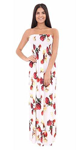 Fast Fashion Damen Maxi Kleid Plus Größe Leopardstreifen Tie Dye Blumendruck (EUR (44-46), Blumen Creme) -