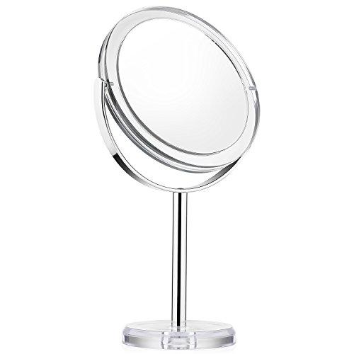 Schminkspiegel Kosmetikspiegel Beautifive Spiegel Kosmetik mit 1x / 7x Vergrößerung Tischspiegel 360°Drehbar für Make Up Silber
