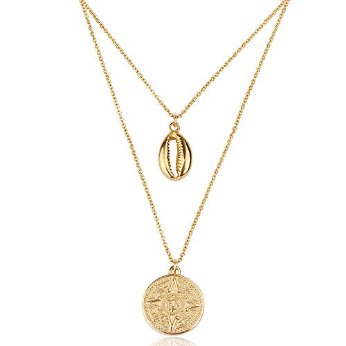 Good.Designs ® Muschel Kette für Damen verstellbar goldene Shell Halskette mit Kompass-Anhänger Muschelkette Kompass Kompasskette mehrreihige echtemuscheln naturmuscheln (Gold) Klar Shell