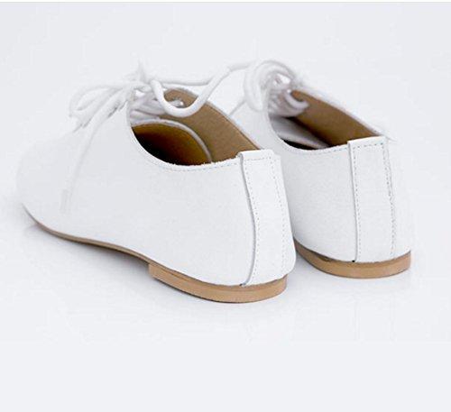 WZG Le nouveau bas pour aider style britannique en dentelle sangle loisirs chaussures sauvages chaussures plates avec blanc chaussures plates en cuir oxford White
