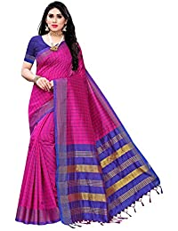 Anni Designer Women's Pink Color Cotton Silk Saree With Blouse Piece (NEO PINK_Free Size)
