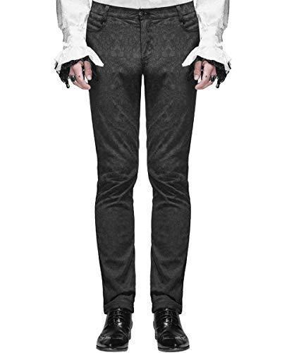 (Devil Fashion Herrenhosen Hose Schwarz Brokat Gothic Steampunk VTG Aristocrat - Schwarz, Schwarz, XL)