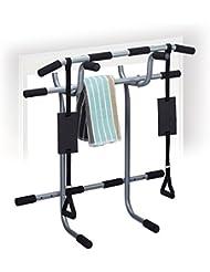 Relaxdays Klimmzugstange Tür, 2-teilig, HxBxT: 100 x 92 x 52 cm, Griffpolster, ohne Bohren, Hometrainer, silber/schwarz
