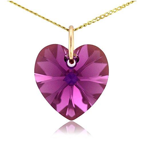 Massiccio 9ct oro collana con ciondolo a forma di cuore e cristallo swarovski ametista 16