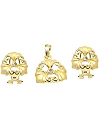Silvestoo India Cubic Zirconia Gold Plated Pendant & Earring Set For Women & Girls PG-113150