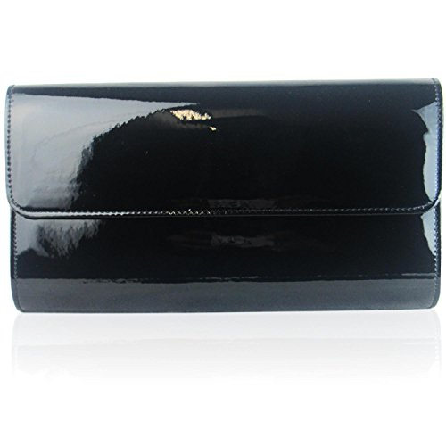Xardi London Pochette da donna grande, nera metallizzata, da cerimonia o party Black
