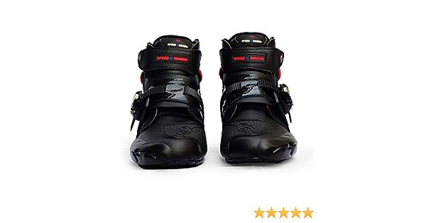 Mylujo Motorcycle Boots Soft Biker Speed Motocross Boots Non-slip Motorcycle Shoes Motorbike Waterproof Boots for Men Boys black 9