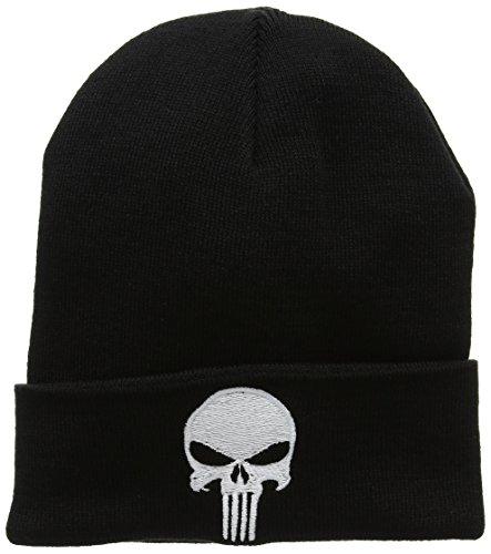 ics - Punisher Logo Kinder Beanie - Strickmütze - Wollmütze - Wintermütze - bestickt - schwarz - Lizenziertes Originaldesign (Punisher Kostüm Mädchen)