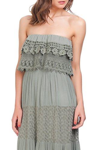 Laura Moretti - Kleid mit gestickten Details auf der Oberseite und Blumenmusterstreifen Grün