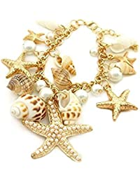 86f0f1d026b2 Pulsera - TOOGOO(R)Estilo del oceano Multi estrellas de mar Estrella de mar  Caracola marina Concha Perlas Collar…