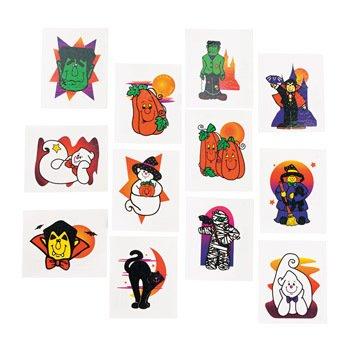 oween 36 Stück 12 verschiedene Motive Palandi® (Glitzer-tattoos Halloween)