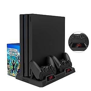 PS4 Vertikaler Standfuß, bedee PlayStation 4 Vertikal Stand mit Kühler Lüfter, DualShock 4 Controller Ladestation mit…