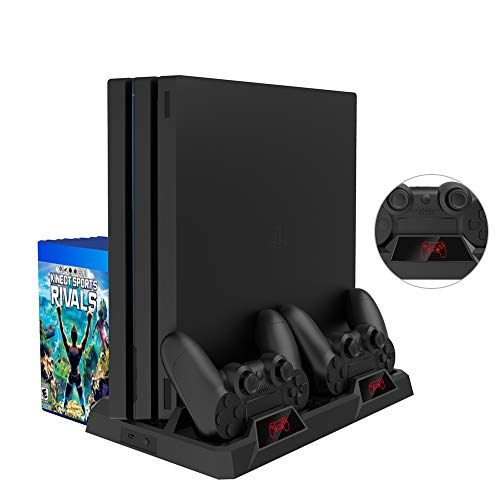 bedee PS4 Vertical Stand, All-in-One Vertikaler Standfuß Kühler Lüfter, Dual Playstation Controller Ladestation mit LED Indikator, 16PCS Spiele-Disc-Halter Universal für PS4 / PS4 Slim / PS4 Pro