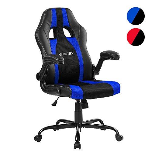 Merax® Schreibtischstuhl Racing Stuhl Bürostuhl Gaming Stuhl Sportsitz Drehstuhl Chefsessel PU Kunstleder, Armlehnen einstellbar, 50 x50 x 106-116cm, schwarz/blau