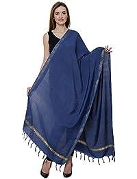 Bhagalpuri Ethnic Dupatta Blue With Golden Striped