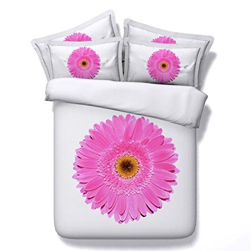 HUANZI Bettbezug 3D Rosa Blume Reversible Polyester Bettbezug & Kissenbezüge Set - (Doppel) Weiß, 260 * 225 (Baumwolle Reversible Tröster)