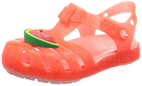 crocs Unisex-Kinder Isabella Charm Sandal K Clogs Orange (Bright Coral 6pj) 24/25 EU